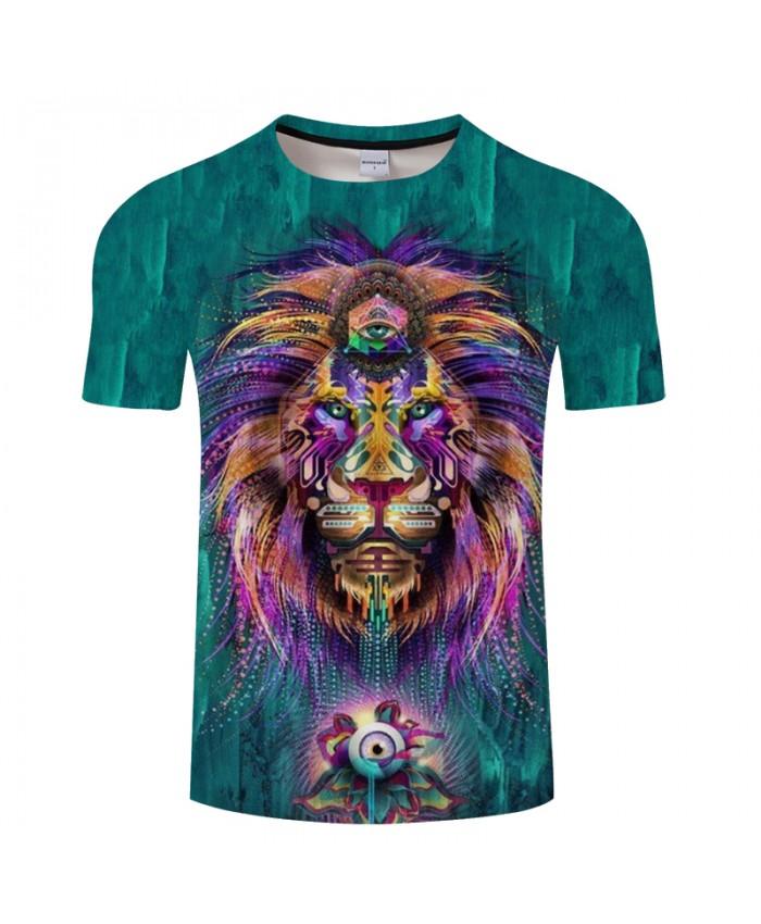 Anime Lion 3D Print t shirt Men Women tshirt Summer Casual Short Sleeve O-neck Tops&Tee Streetwear Green Drop Ship