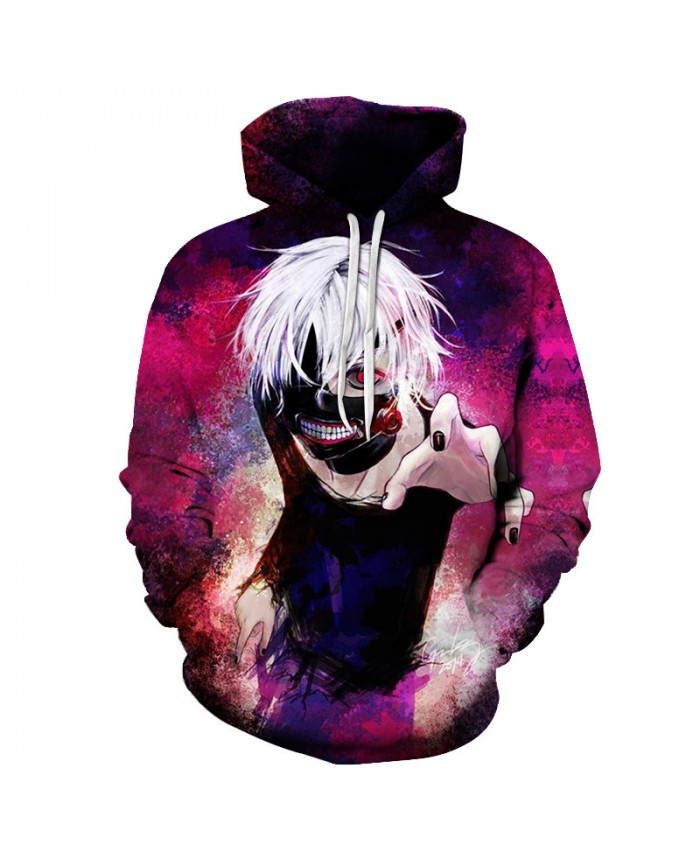Anime Tokyo Ghoul 2019 New Halloween Tops Fashion 3d Hoodies Cartoon print Hooded Sweatshirt Rock Hip Hop Pullovers Streetwear