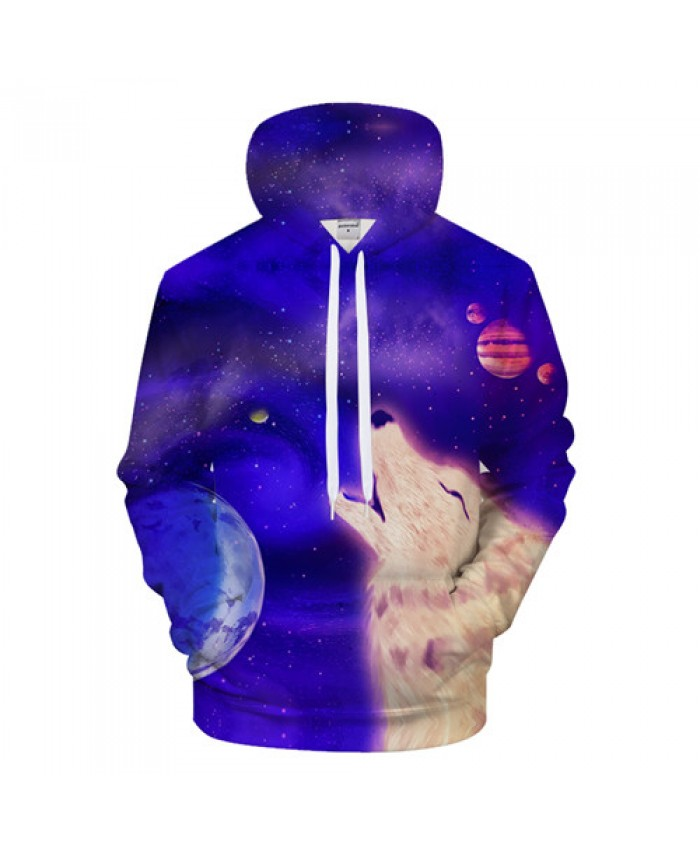 Anime Wolf Hoodies Men Hoody Galaxy Sweatshirt Casual Tracksuit 3D Pullover Male Coat Streetwear Hooded Drop ship