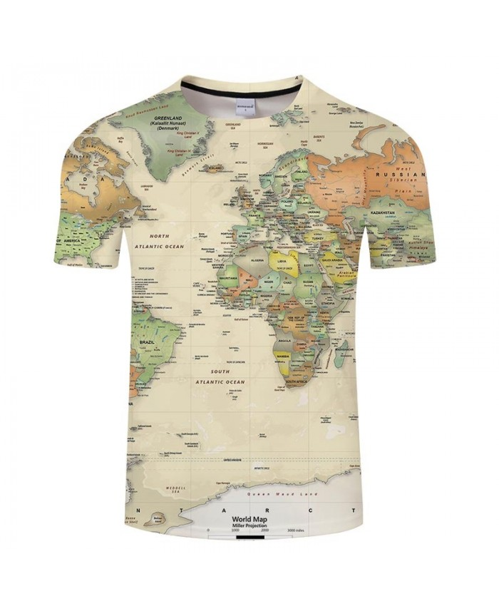 Atlantic Map 3D Print Men tshirt Mens Shirt Casual Summer Short Sleeve Male tshirt Brand Men Round Neck Tops&Tee