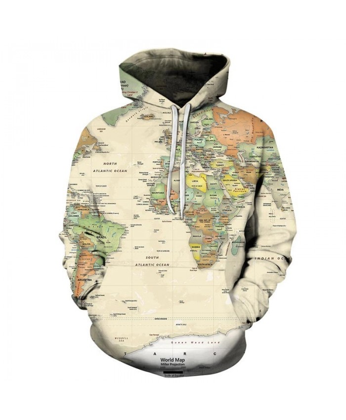 Atlantic Ocean Map 3D Print Men Pullover Sweatshirt Pullover Hoodie Casual Streetwear Sweatshirt Fashion Men Hoodie