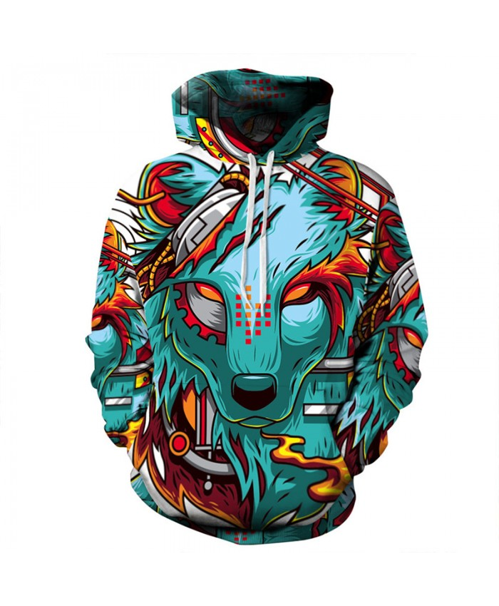 Autumn Fashion Hooded Sweatshirt 3D Print Demon Wolf Men Women Casual Pullover Sportswear