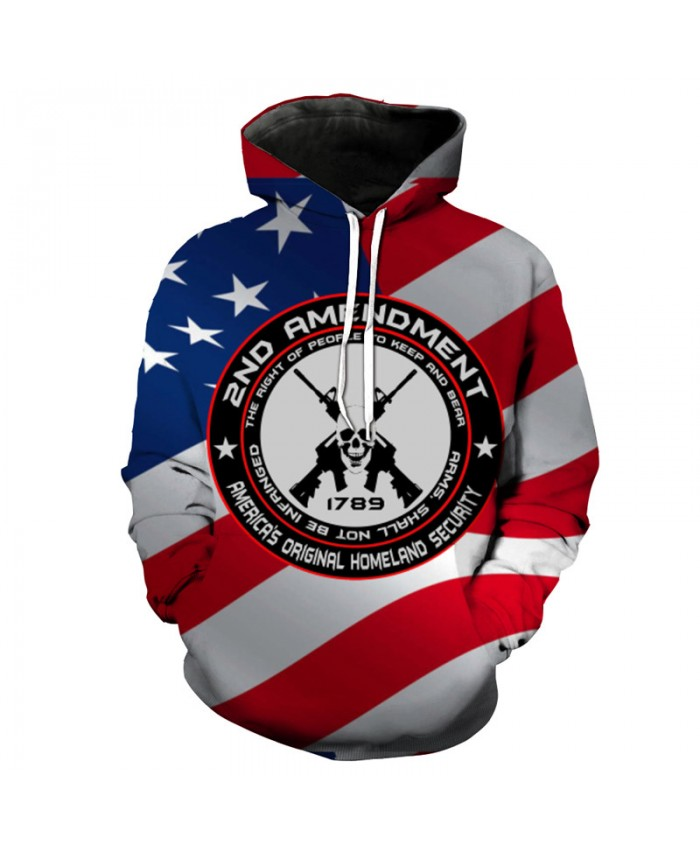 Autumn Hoodies Two Sticks of Guns Skull Print Fashion Pullover Sportswear
