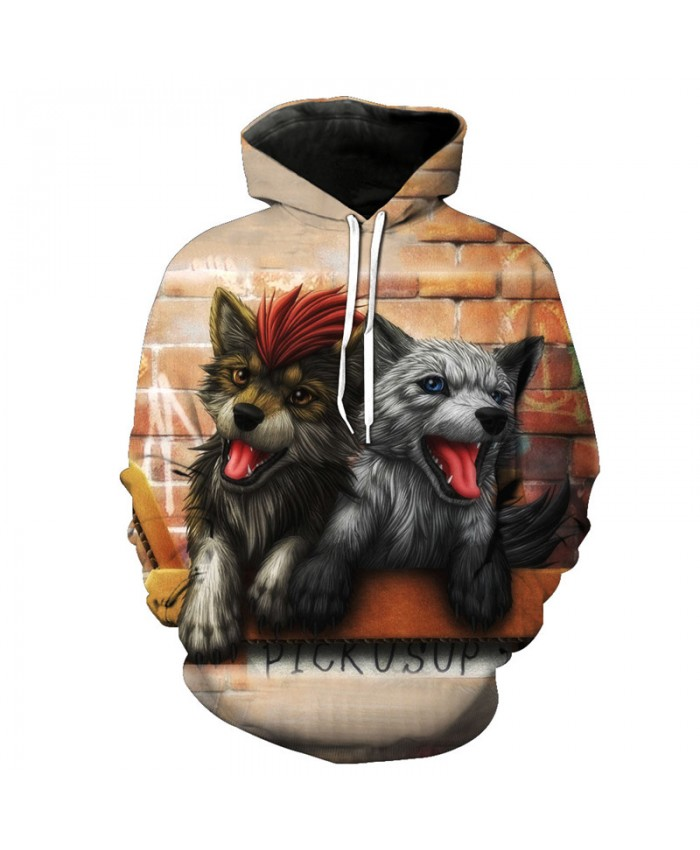 Autumn Pullover Cute Two Brothers Hooded Sweatshirts Wolf Hoodies Men Women Casual Pullover Sportswear
