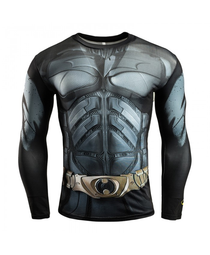 BATMAN Compression Shirt for  Men T-shirts 3D Long Sleeve Tees
