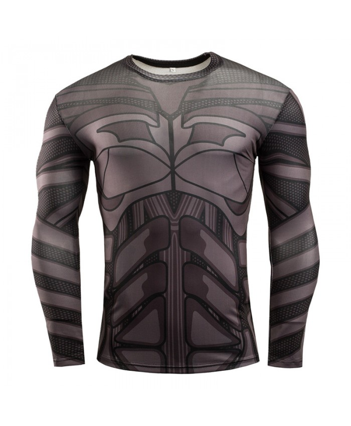 BATMAN Compression Shirt for Men Tops T shirts 3D Long Sleeve Tees