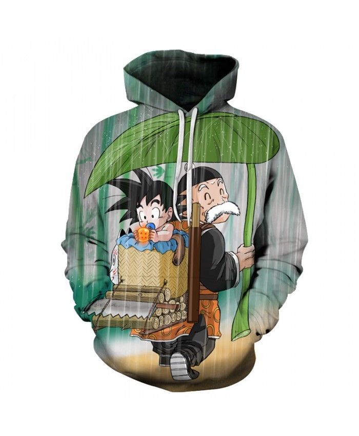 Baby Goku and Grandpa Gohan In The Rain Dragon Ball Z Hoodie Anime Fashion Casual Tracksuits Hooded Pullover