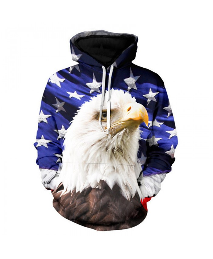 Bald Eagle American Flag Print Fashion Men Women Hoodies Casual Sweatshirt Casual Hoodie Autumn Tracksuit Pullover Hooded Sweatshirt