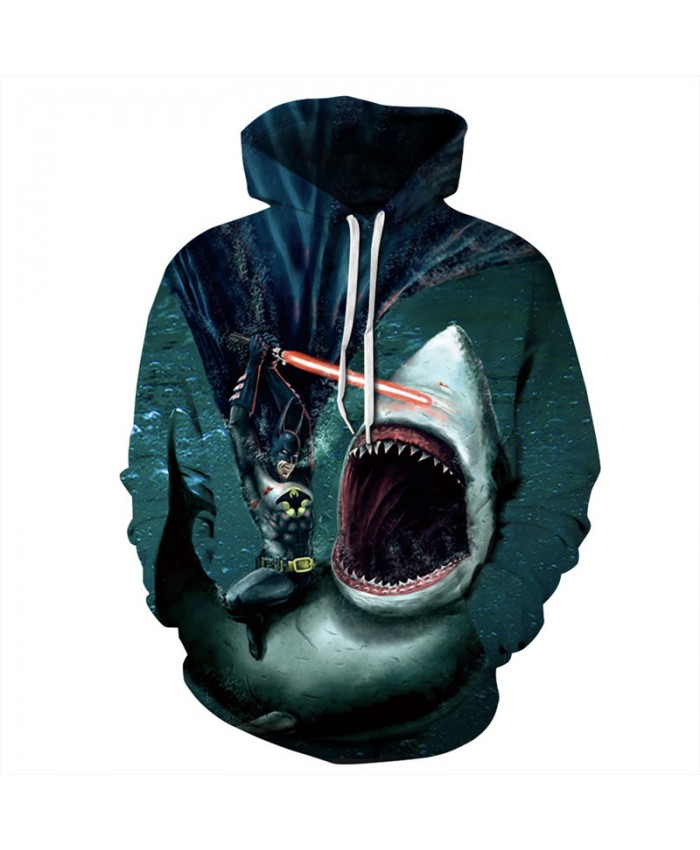 Batman Wars Great White Shark Funny Hoodies Neutral Pullover