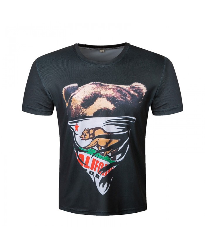 Bear 3D T-shirt Men Printed T shirt 2021 Animal Fashion Casual Top Summer Short Sleeve Plus Size Brand Clothing Male