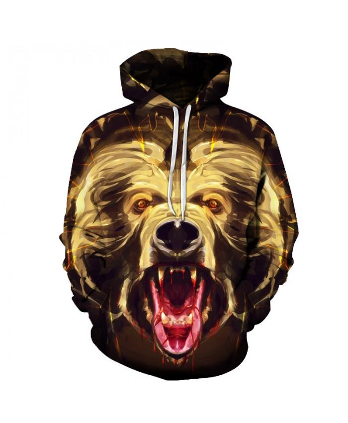 Bear Growl Hoodei-Sweatshirt Mens 3D Print Brand Sweatshirts Hooded Pullover Autumn Winter Tracksuits Pockets Jackets