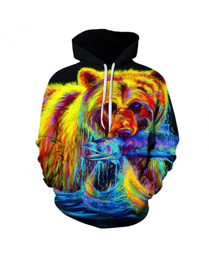 Bear bit Fish 3D Mens Hoodie Sweatshirts Unisex Pullover Autumn Tracksuits Boy Jackets Animal Printed Coats S-6XL PLUS SIZE