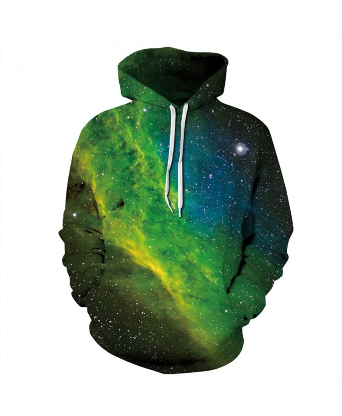 Beautiful Green Galaxy Fashion Hooded Sweatshirt Autumn Men Women Casual Pullover Sportswear