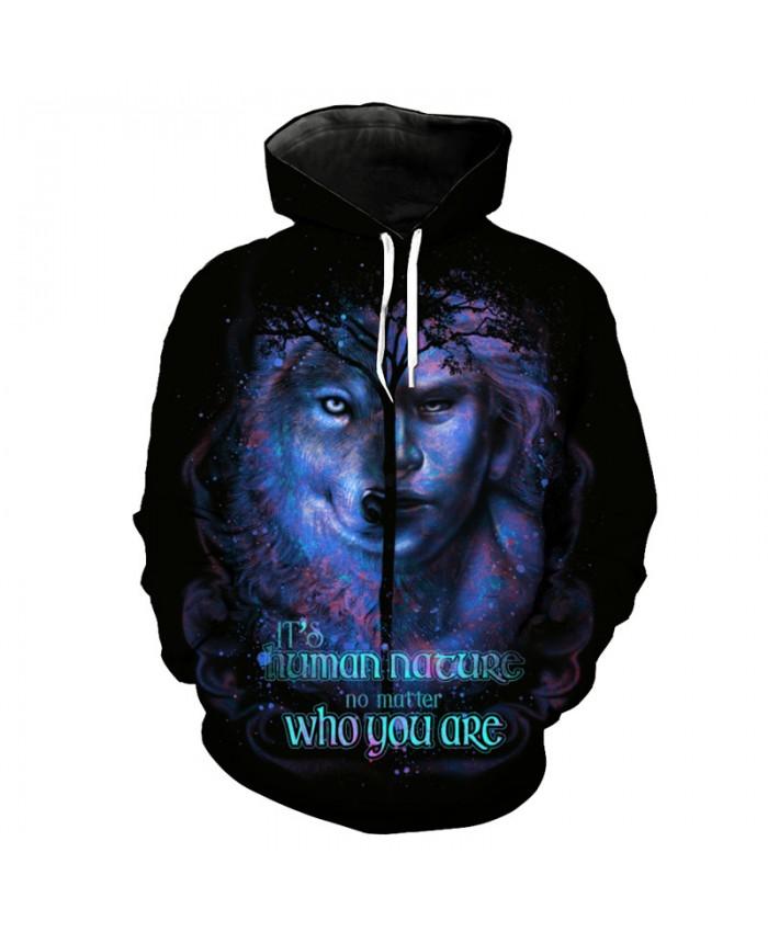 Beauty Wolf Fun Print Fashion Black Hoodie Sweatshirt Pullover Tracksuit Pullover Hooded Sweatshirt