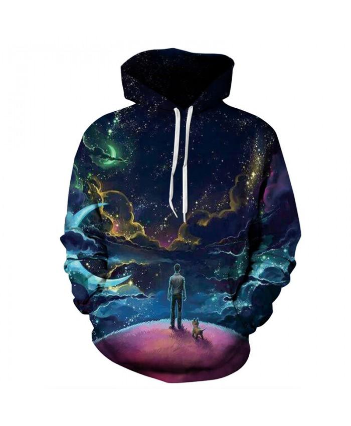 Best Friend Night Star Print Fashion Neutral Hooded Sweatshirt