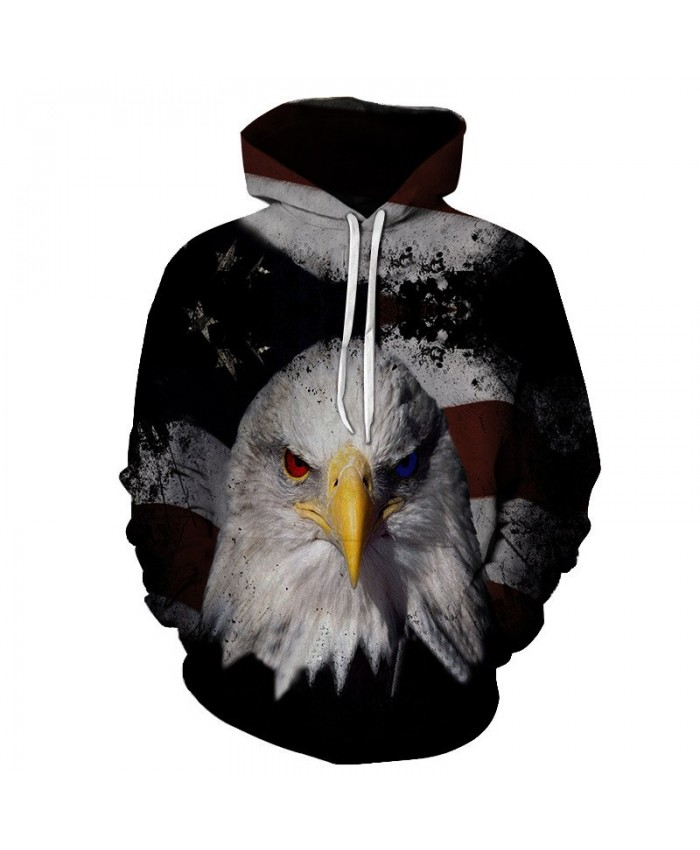 Bicolor Eyes Dark Eagle Style American Flag Street Hoodie Autumn Pullover Casual Hoodie Autumn Tracksuit Pullover Hooded Sweatshirt
