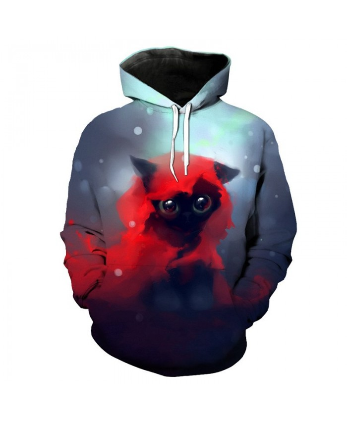 Big Eyes Red Scarf Cute Cat Print 3D Hooded Pullover Sweatshirt Casual Hoodie Autumn Tracksuit Pullover Hooded Sweatshirt