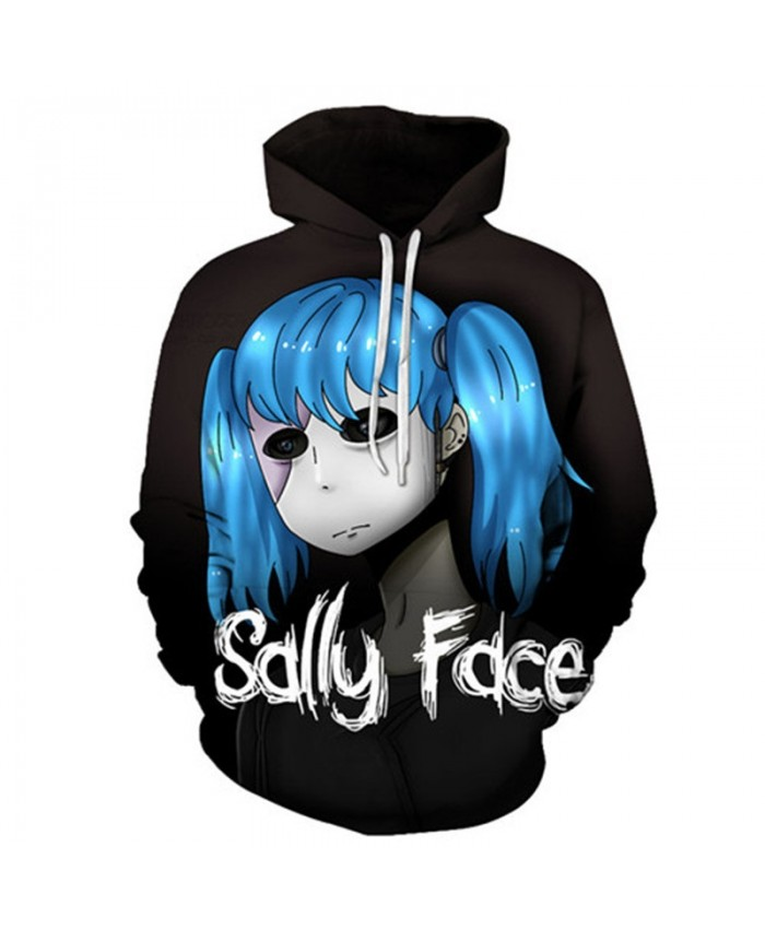 Big Eyes Sally Face 3D Printed Mens Pullover Sweatshirt Clothing Fashion for Men Custom Pullover Hoodie Streetwear