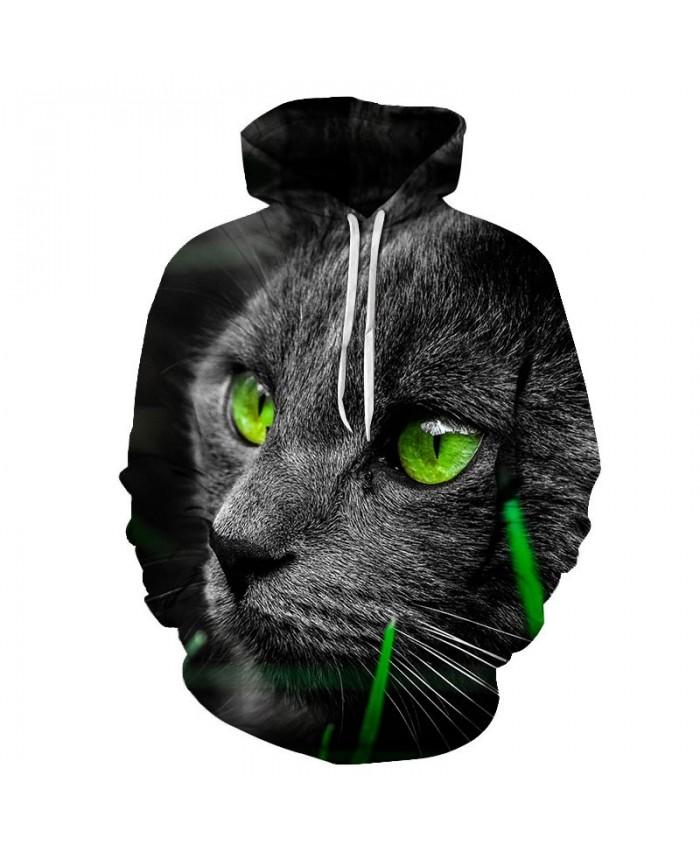 Big Green Eyes Cat 3D Printed Mens Pullover Sweatshirt Pullover Casual Hoodie Men Streetwear Sweatshirt 2019 Hoodie