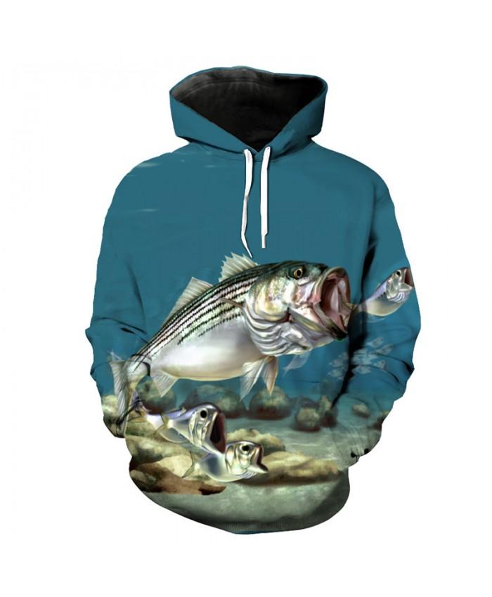 Big fish eat small fish print fashion hooded sweatshirt 3d fish series pullover Men Women Casual Pullover Sportswear