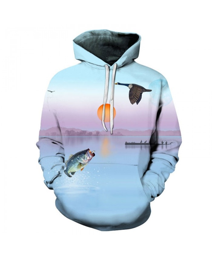 Birds And Fish Fly Together 3D Printed Men Pullover Sweatshirt Clothing for Men Custom Pullover Hoodie Streetwear