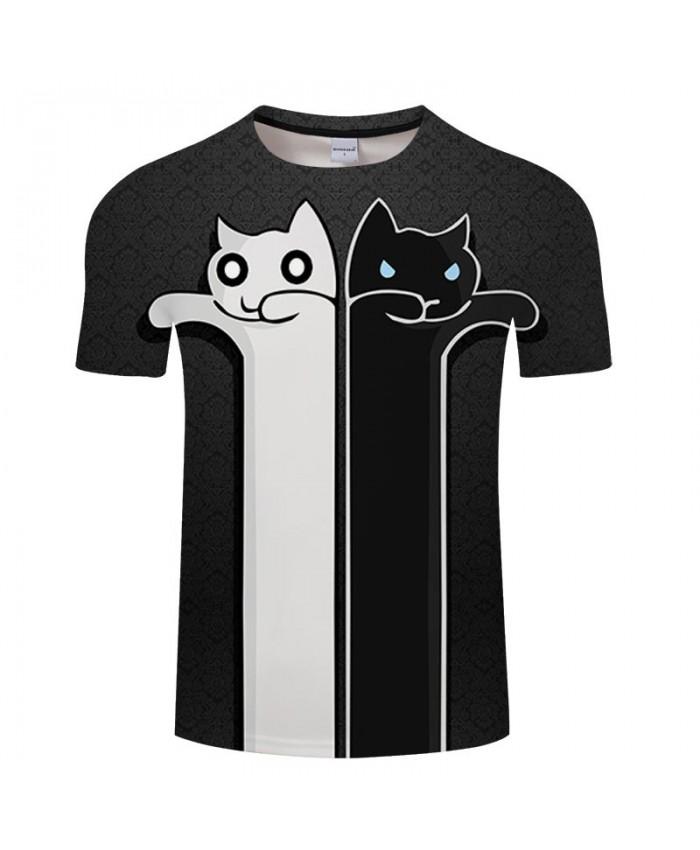 Black And White Cat 3D Printed Men tshirt Crossfit Shirt Casual Summer Short Sleeve Male tshirt Brand Men Round Neck