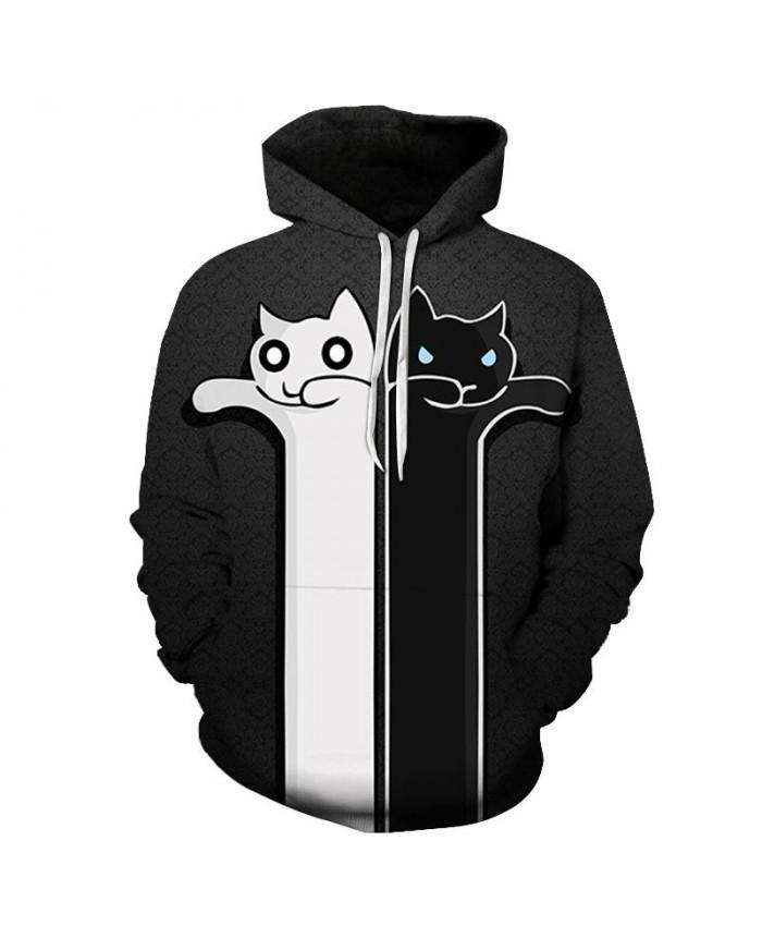 Black And White Cat 3D Printed Mens Pullover Sweatshirt Pullover Casual Hoodie Men Fashion Hoodie Streetwear Tops
