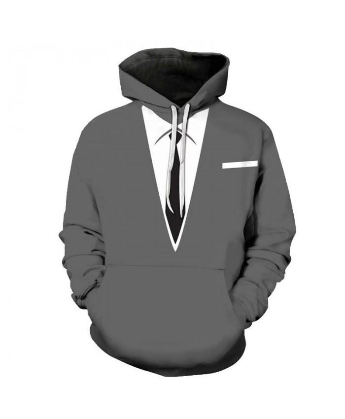 Black And White Tie 3D Print Men Pullover Sweatshirt Clothing for Men Casual Hoodies Men Streetwear Sweatshirt