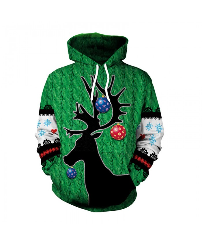Black Antler Christmas Sweater Unisex Men Women Vacation Santa Elf Pullover Funny Sweaters Tops Autumn Winter Clothing