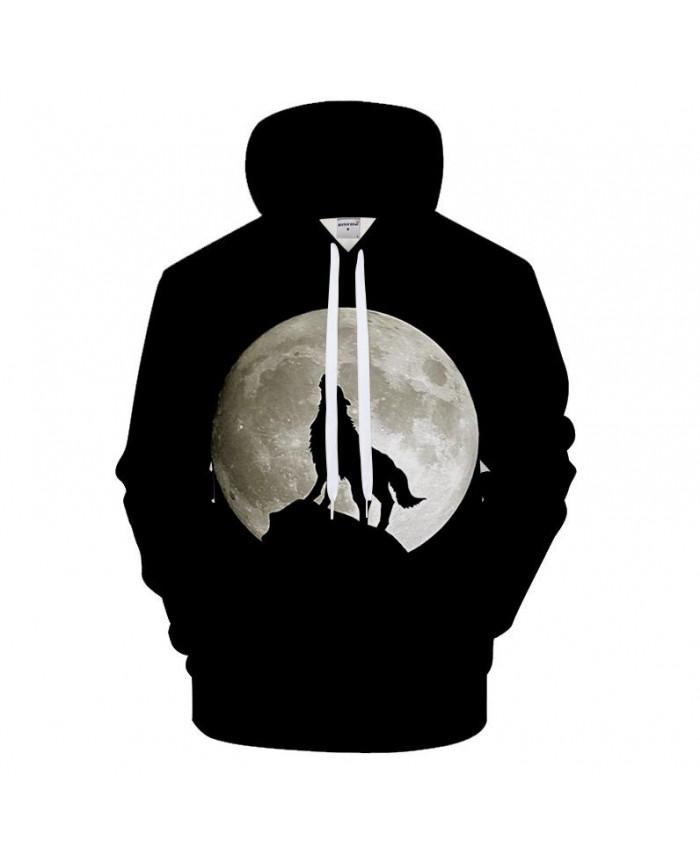 Black Hoodie 3D Hoodies Men Wolf Sweatshirt Harajuku Hoody Streatwear Tracksuit Brand Coat Pullover Moon Drop Ship