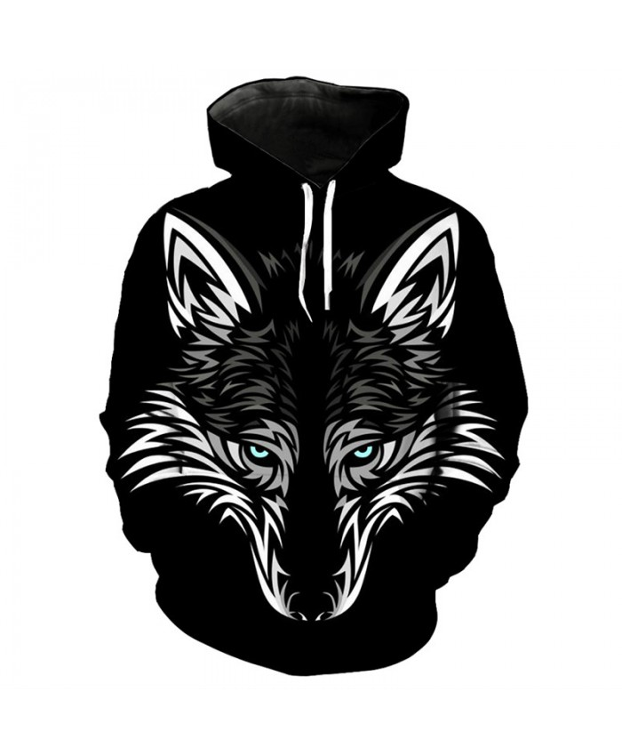 Black Hoodie Wolf Series 3D Wolf Head Print Fashion Pullover Men Women Casual Pullover Sportswear