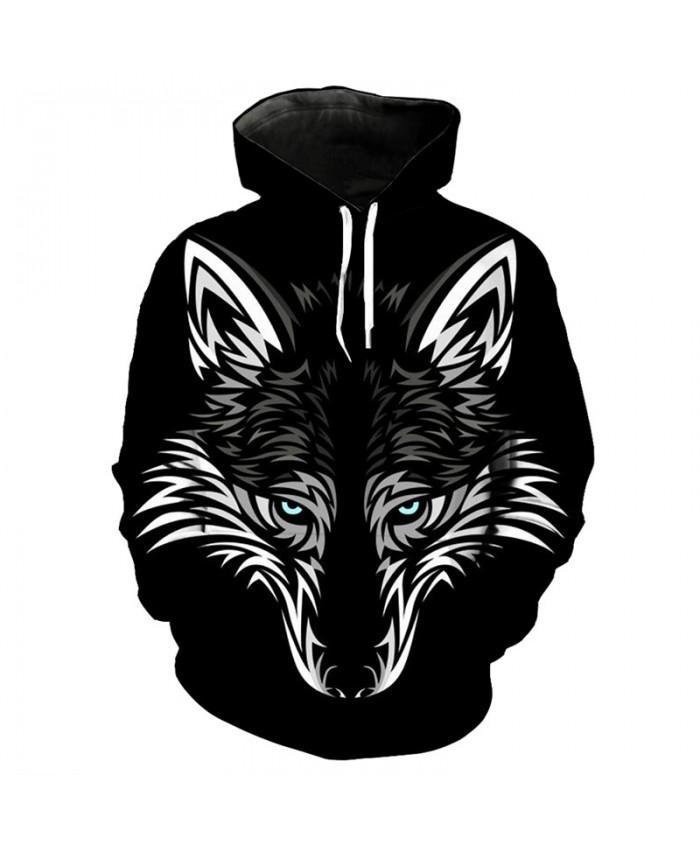 Black Hoodie Wolf Series 3D Wolf Head Print Fashion Pullover Men Women Casual Pullover Sportswear