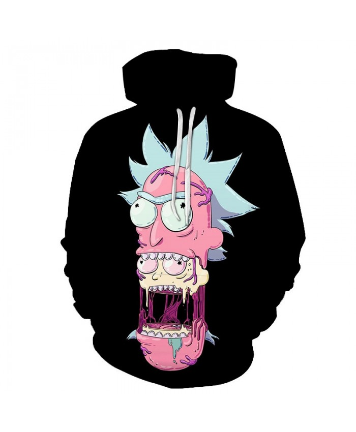 Black Hoodies Mens Sweatshirt Rick and Morty Hoodie 3D Pullover Funny Hoody Anime Tracksuit Male Streatwear DropShip