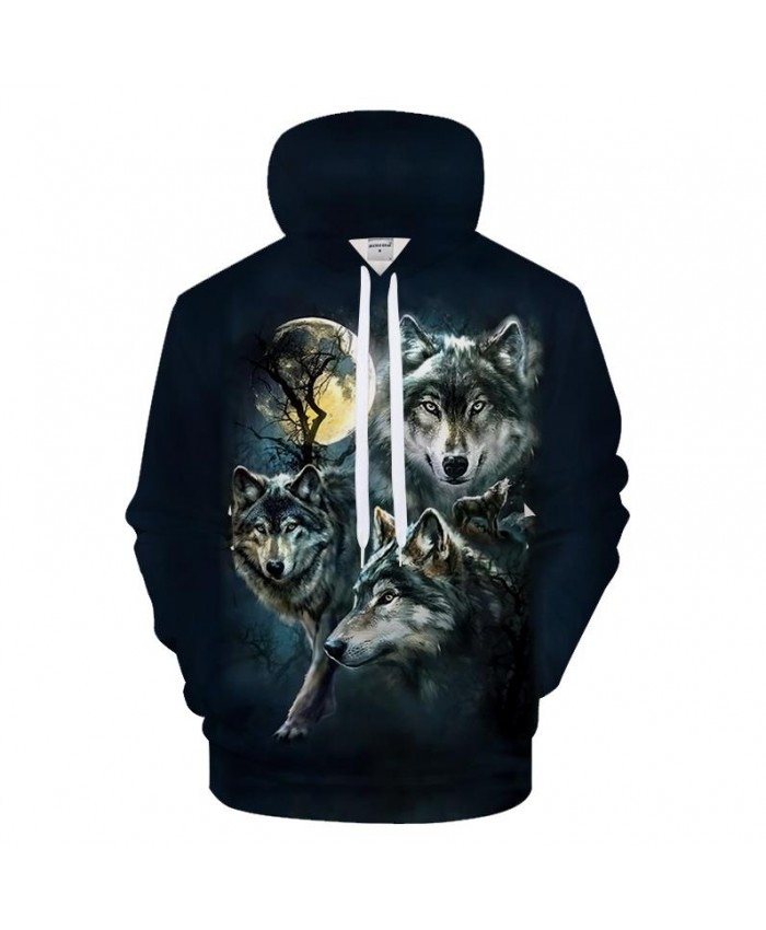 Black Hoodies Wolf Hoody Men Sweatshirts Anime Tracksuit 3D Pullover Harajuku Coat Streatwear Brand Quality DropShip