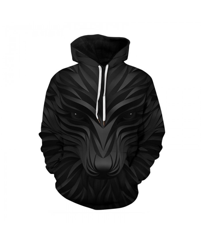 Black Plus Size Hoodies 3d Wolf Print Sweatshirts Men Women Autumn Winter Casual Pullover Male Female Tracksuit Jacket