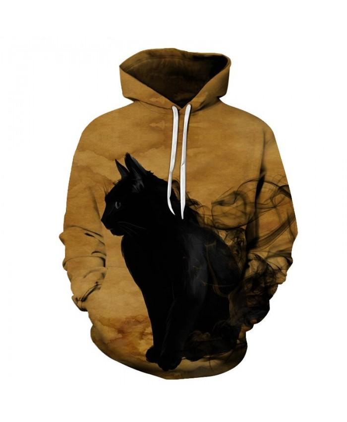 Black Smoke Cat 3D Print Mens Pullover Sweatshirt Pullover Casual Hoodie Men Streetwear Sweatshirt Hoodie Tracksuits