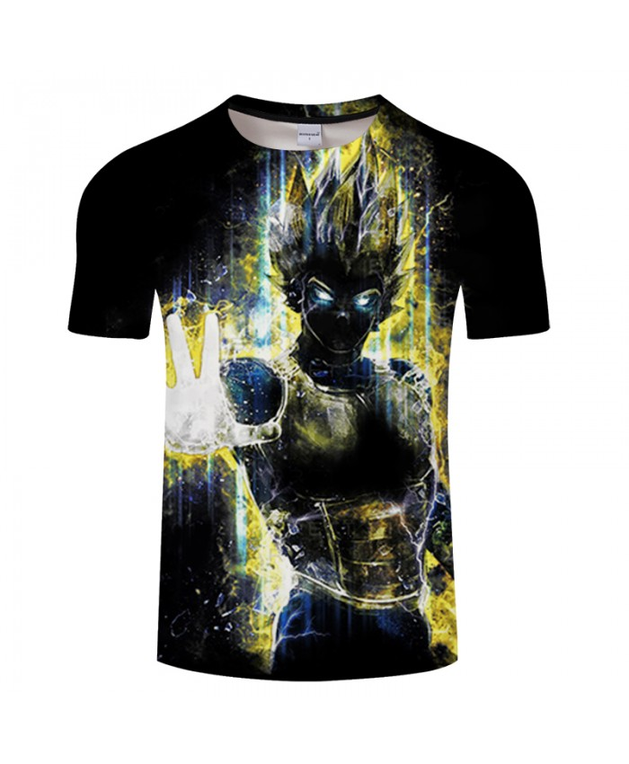 Black Warrior 3D Print T shirt Men Women Summer Anime Short Sleeve Dragon Ball Boy Tops&Tee Tshirts Vegeta Drop Ship