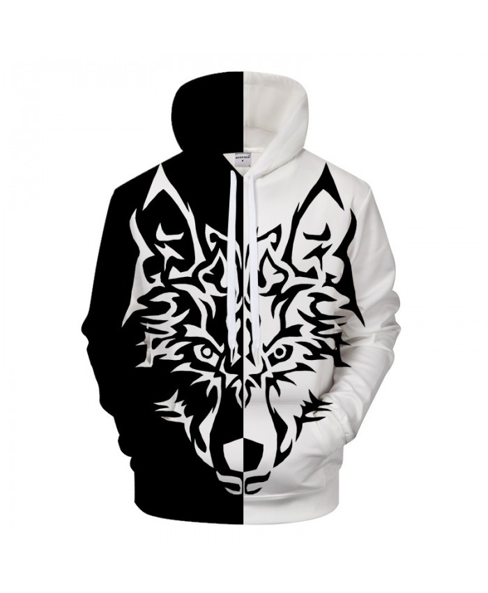 Black Wolf Men Hoodies Men Hoody Groot 3D Sweatshirt Brand Tracksuit Animal Pullover Hollow Out Harajuku New DropShip