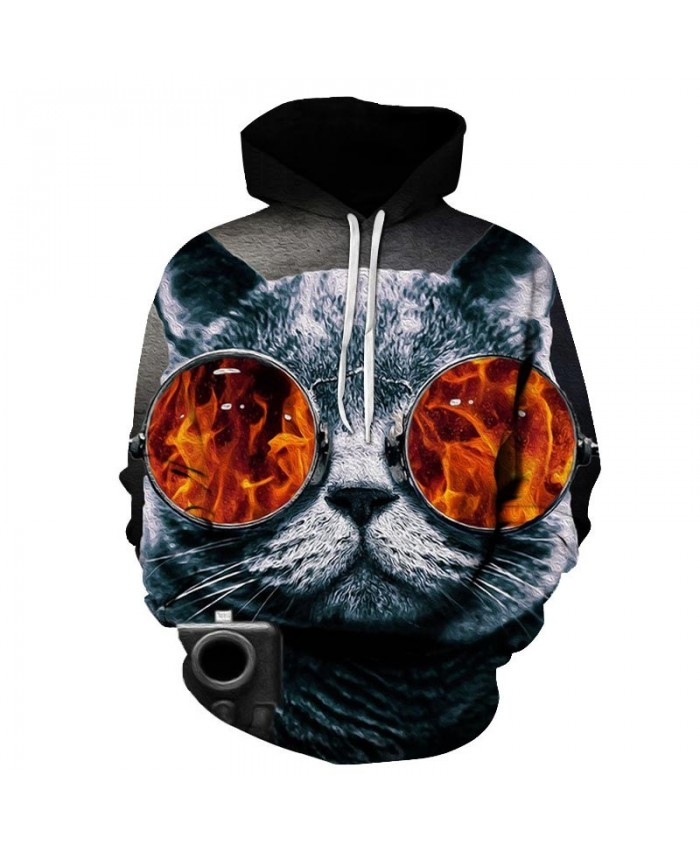 Blazing Fire Cat 3D Printed Mens Pullover Sweatshirt Pullover Casual Hoodie Men Streetwear Sweatshirt Clothes Hoodie