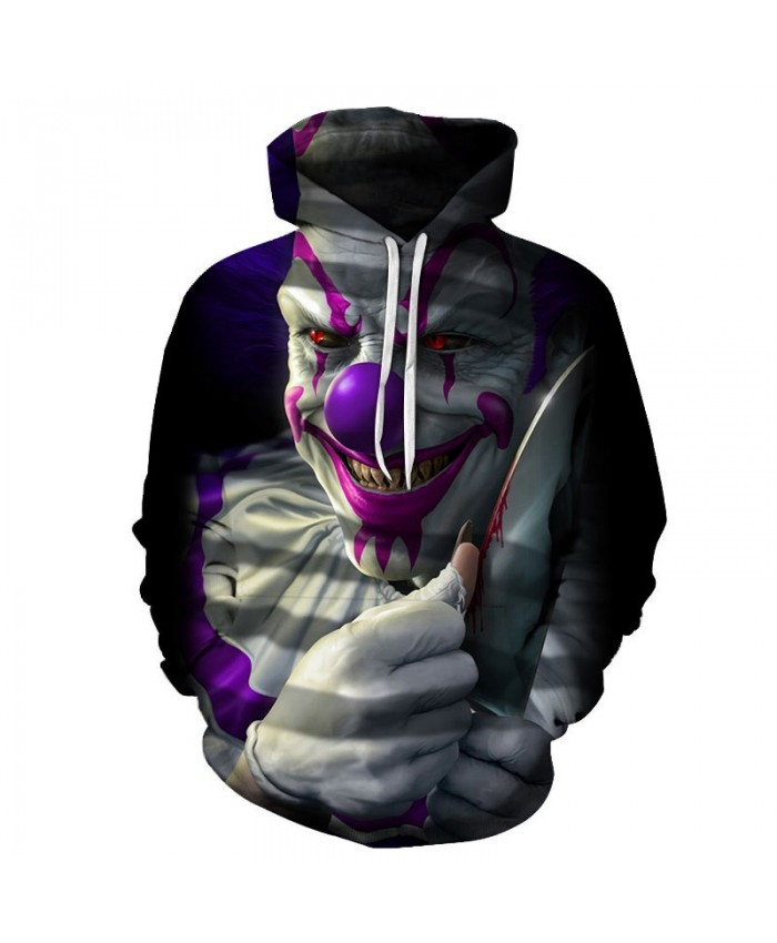 Blood Clown On The Knife 3D Printed Men Pullover Sweatshirt Clothing for Men Custom Pullover Hoodie Men Streetwear
