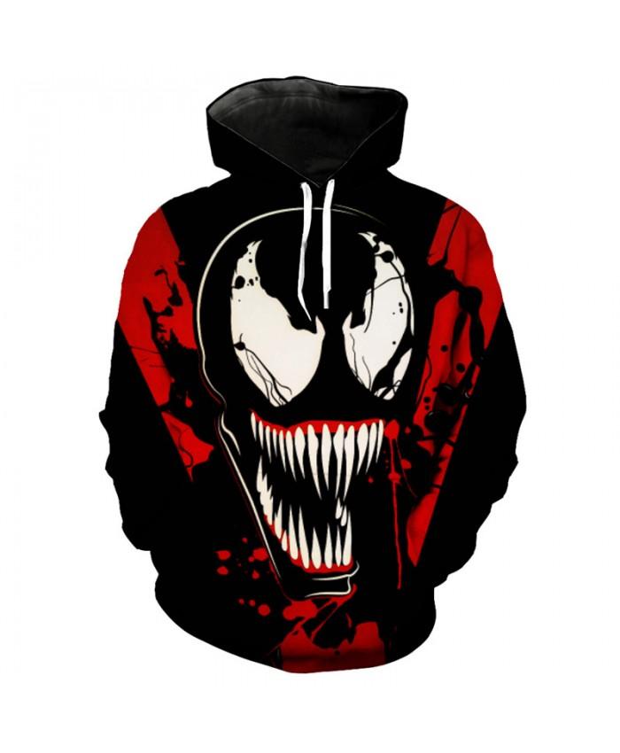 Blood color dark hero venom printing cool 3D hooded pullover hip hop streetwear