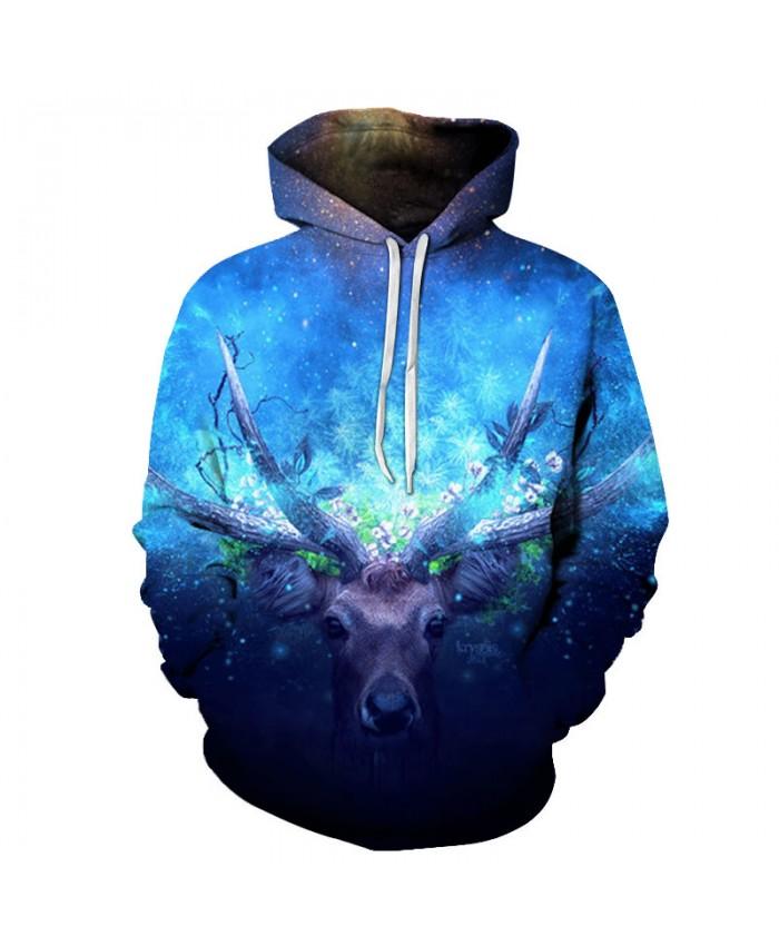 Blue Deer 3D Print Hoodies Men Hoody Harajuku Hoodie Streatwear Sweatshirt Tracksuit Pullover Coat Hip Hop Dropship