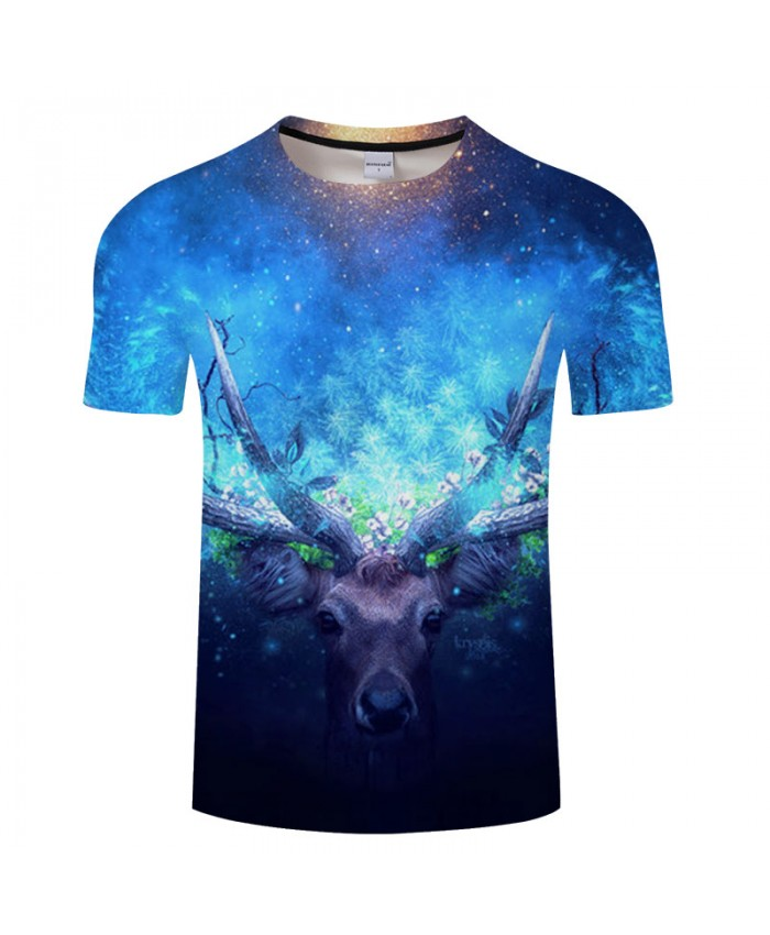 Blue Deer 3D Print T shirts Men T-shirts Brand Tops Tee Anime Streetwear Summer Short Sleeve tshirt O-neck Drop Ship
