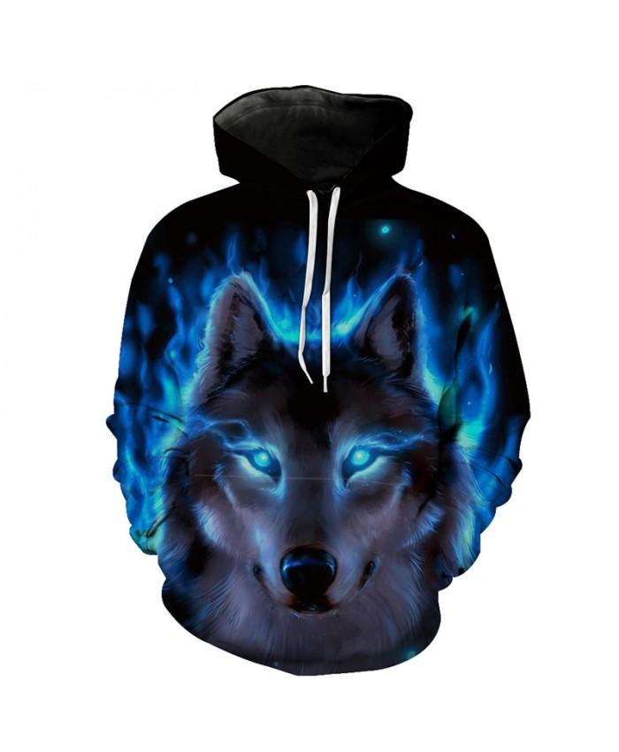 Blue Flame Wolf Hooded Sweatshirt Neutral Hoodies Tracksuit Pullover Hooded Sweatshirt