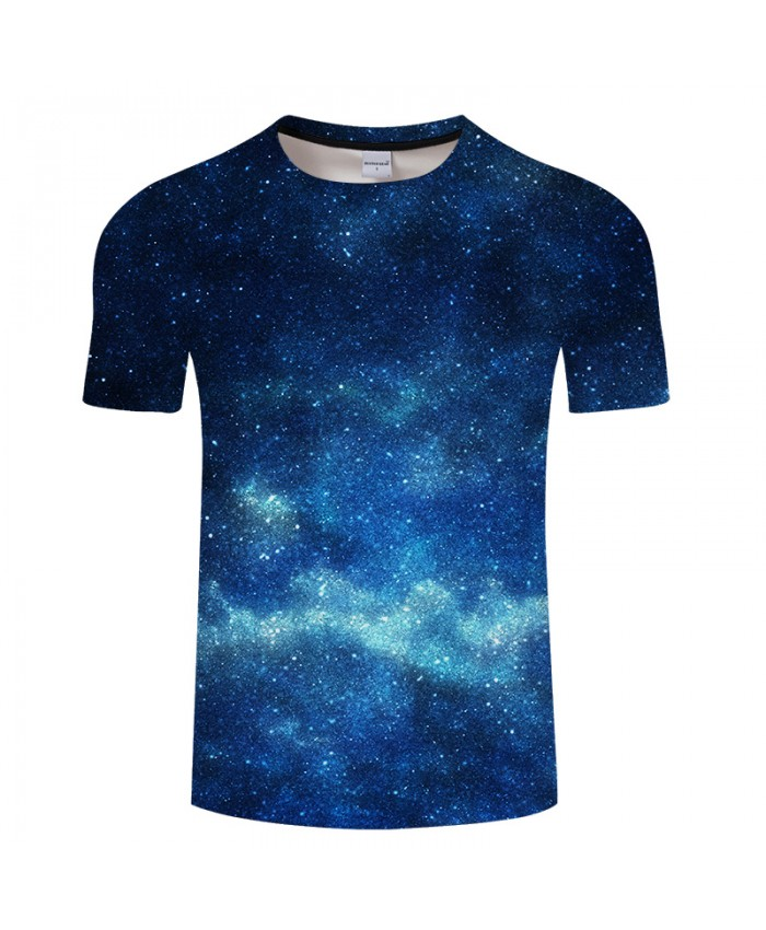 Blue Galaxy Digital Print Male t shirt Causal Men's t-shirts Summer O-neck Short Sleeve Tops Tees Drop Ship