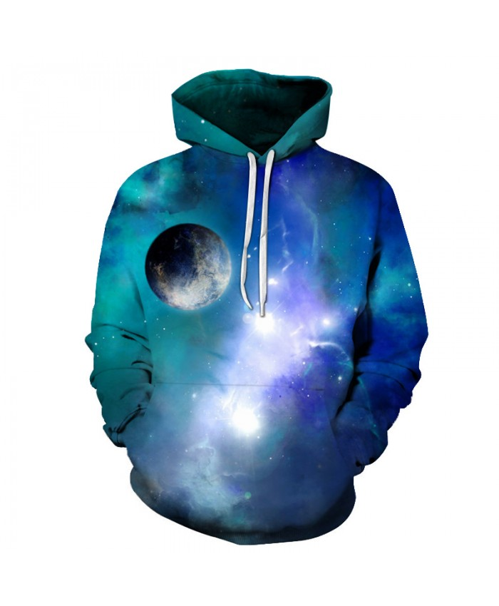 Blue Galaxy Hoodies Men Women 3D Sweatshirts Quality Outwear Male Tracksuits Hooded Pullover Skateboard Streetwear