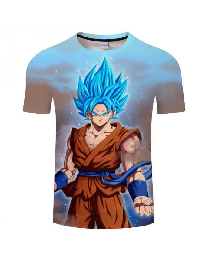 Blue Hair 3D Print T shirt Men Dragon Ball Summer Anime Casual Short Sleeve Boy Tops&Tee Tshirts Camiseta Drop Ship