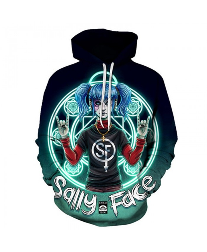 Blue Hair Sally Face 3D Printed Mens Pullover Sweatshirt Clothing for Men Casual Custom Pullover Hoodie Streetwear