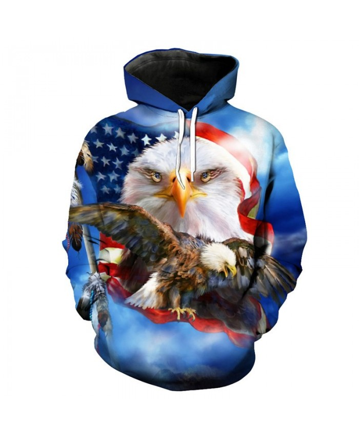 Blue Hooded Sweatshirt Eagle Flag Print Fashion Hoodie Sweatshirt Casual Hoodie Autumn Tracksuit Pullover Hooded Sweatshirt