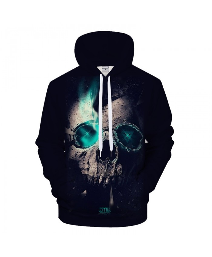 Blue Light Skull Hoodies Men 3D Hoody Male Sweatshirts Harajuku Tracksuit Quality 6XL Coat Hooded Pullover Drop ship